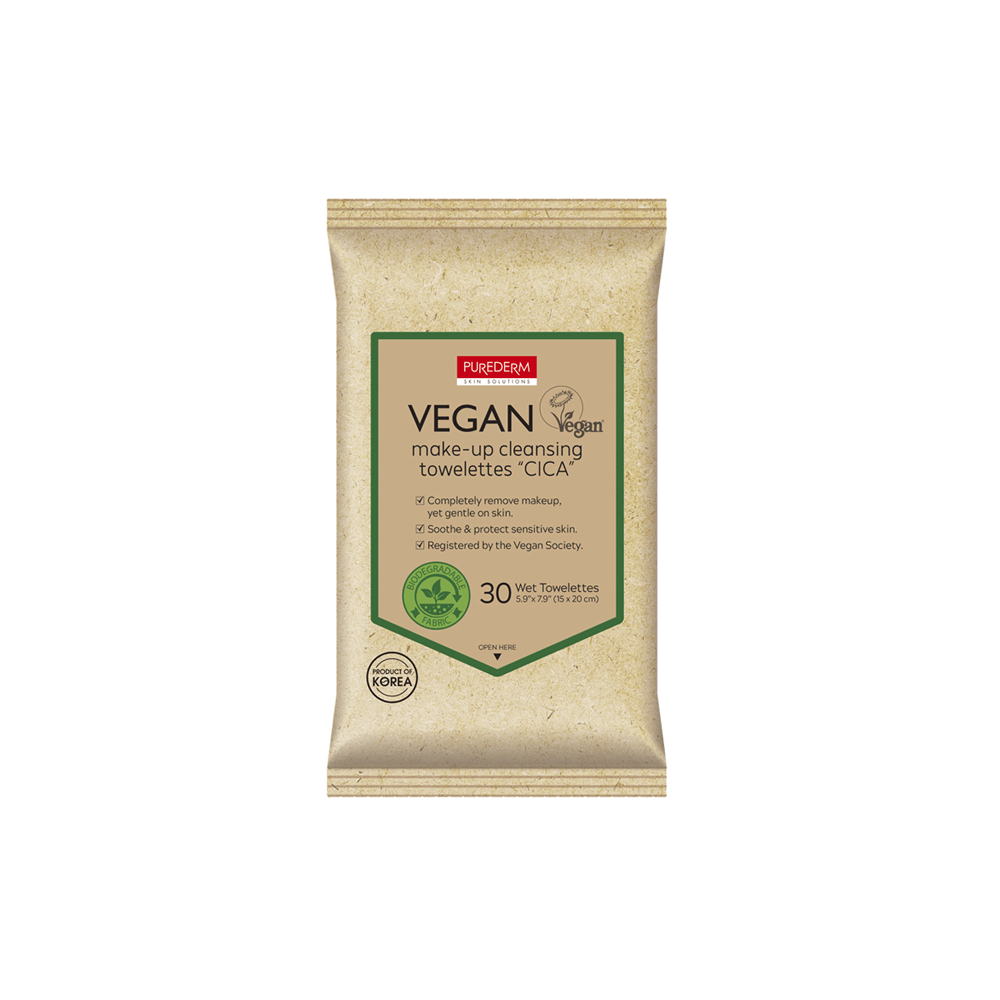 "Toallitas desmaquillantes Veganas Biodegradable – Vegan Make-up Cleansing Towelettes ""CICA"""