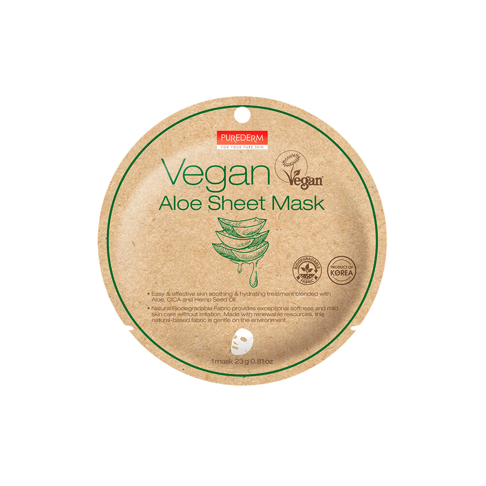 Mascarilla biodegradable vegana con aloe – Vegan aloe sheet mask